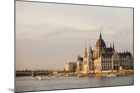 Evening Light on the Hungarian Parliament Building and Danube River, Budapest, Hungary, Europe-Ben Pipe-Mounted Photographic Print