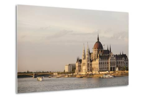 Evening Light on the Hungarian Parliament Building and Danube River, Budapest, Hungary, Europe-Ben Pipe-Metal Print