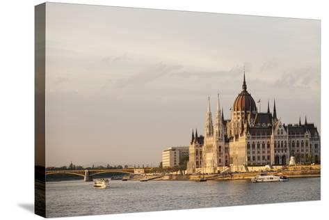 Evening Light on the Hungarian Parliament Building and Danube River, Budapest, Hungary, Europe-Ben Pipe-Stretched Canvas Print