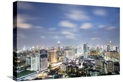 City Skyline at Night, Bangkok, Thailand, Southeast Asia, Asia-Alex Robinson-Stretched Canvas Print