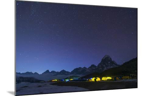 Ama Dablam Base Camp in the Everest Region Glows at Twilight, Himalayas, Nepal, Asia-Alex Treadway-Mounted Photographic Print