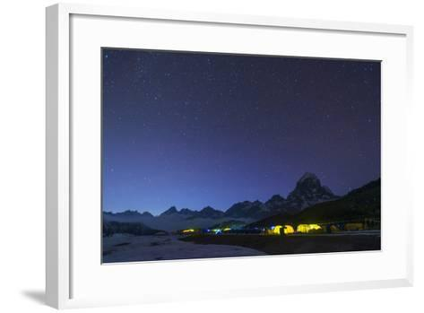 Ama Dablam Base Camp in the Everest Region Glows at Twilight, Himalayas, Nepal, Asia-Alex Treadway-Framed Art Print
