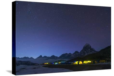 Ama Dablam Base Camp in the Everest Region Glows at Twilight, Himalayas, Nepal, Asia-Alex Treadway-Stretched Canvas Print