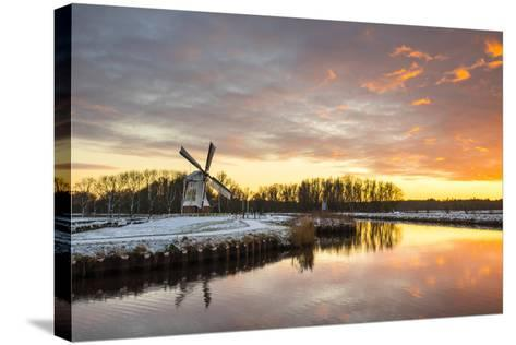 Witte Molen (White Mill) Dutch Windmill in Winter at Sunset, Harn, Groningen-Jason Langley-Stretched Canvas Print