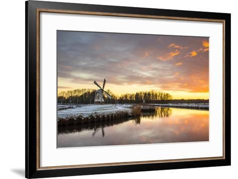 Witte Molen (White Mill) Dutch Windmill in Winter at Sunset, Harn, Groningen-Jason Langley-Framed Art Print