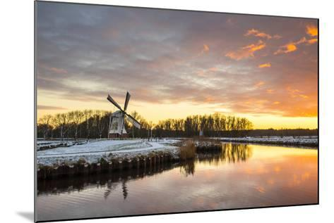 Witte Molen (White Mill) Dutch Windmill in Winter at Sunset, Harn, Groningen-Jason Langley-Mounted Photographic Print