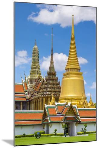 Spires of the Temple of the Emerald Buddha (Wat Phra Kaew), Grand Palace Complex, Bangkok-Jason Langley-Mounted Photographic Print