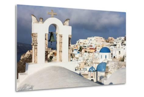 The White of the Church and Houses and the Blue of Aegean Sea as Symbols of Greece, Oia, Santorini-Roberto Moiola-Metal Print