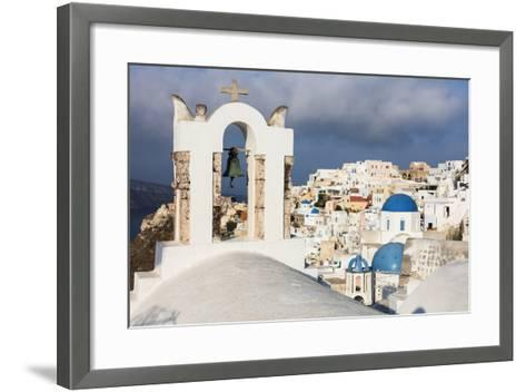 The White of the Church and Houses and the Blue of Aegean Sea as Symbols of Greece, Oia, Santorini-Roberto Moiola-Framed Art Print