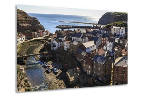 Winding Alleys, Fishing Boats and Sea, Elevated View of Village in Summer-Eleanor Scriven-Metal Print