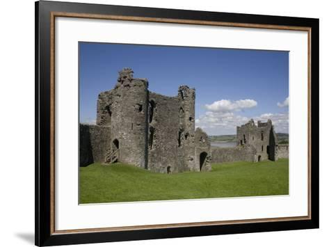Towers and Wall Inside Llansteffan Castle, Llansteffan, Carmarthenshire, Wales, United Kingdom-Julian Pottage-Framed Art Print