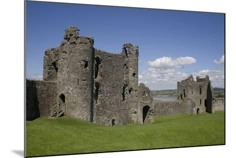 Towers and Wall Inside Llansteffan Castle, Llansteffan, Carmarthenshire, Wales, United Kingdom-Julian Pottage-Mounted Photographic Print