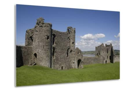 Towers and Wall Inside Llansteffan Castle, Llansteffan, Carmarthenshire, Wales, United Kingdom-Julian Pottage-Metal Print