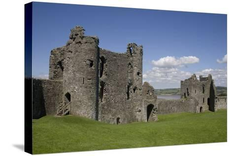 Towers and Wall Inside Llansteffan Castle, Llansteffan, Carmarthenshire, Wales, United Kingdom-Julian Pottage-Stretched Canvas Print
