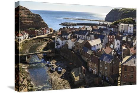 Winding Alleys, Fishing Boats and Sea, Elevated View of Village in Summer-Eleanor Scriven-Stretched Canvas Print