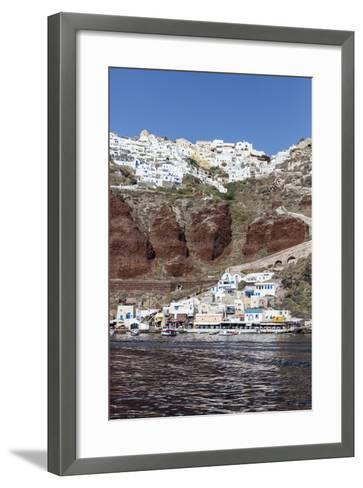 Typical Greek Village Perched on Volcanic Rock with White and Blue Houses and Windmills, Santorini-Roberto Moiola-Framed Art Print
