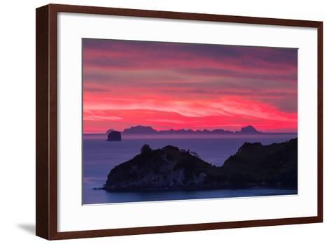 The Sky Appears on Fire as Dawn Light Seeps Through Clouds Beyond Alderman Island-Garry Ridsdale-Framed Art Print