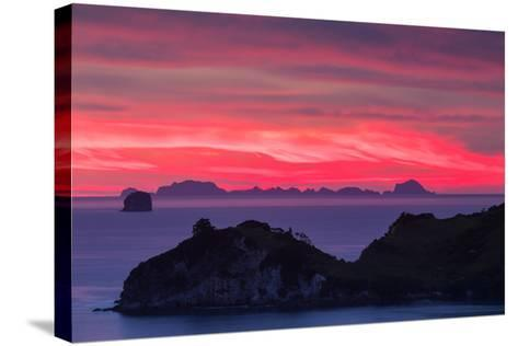 The Sky Appears on Fire as Dawn Light Seeps Through Clouds Beyond Alderman Island-Garry Ridsdale-Stretched Canvas Print
