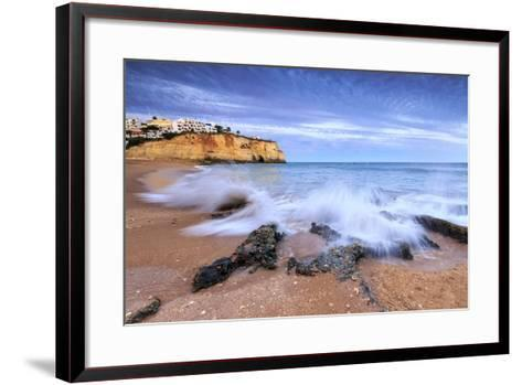 Ocean Waves Crashing on Rocks and Beach Surrounding Carvoeiro Village at Sunset, Lagoa Municipality-Roberto Moiola-Framed Art Print