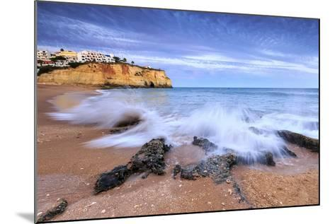 Ocean Waves Crashing on Rocks and Beach Surrounding Carvoeiro Village at Sunset, Lagoa Municipality-Roberto Moiola-Mounted Photographic Print
