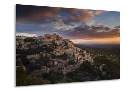 Houses and Buildings of Gordes as They Spiral Up around Rock Plateau High Above Luberon-Garry Ridsdale-Metal Print