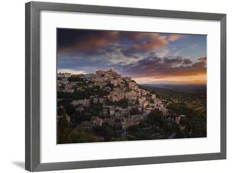 Houses and Buildings of Gordes as They Spiral Up around Rock Plateau High Above Luberon-Garry Ridsdale-Framed Art Print