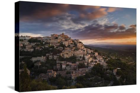 Houses and Buildings of Gordes as They Spiral Up around Rock Plateau High Above Luberon-Garry Ridsdale-Stretched Canvas Print