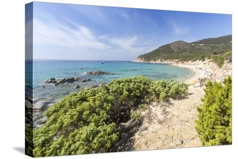 Mediterranean Vegetation Frames the Beach and the Turquoise Sea of Porto Sa Ruxi, Villasimius-Roberto Moiola-Stretched Canvas Print