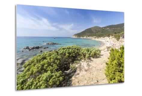 Mediterranean Vegetation Frames the Beach and the Turquoise Sea of Porto Sa Ruxi, Villasimius-Roberto Moiola-Metal Print