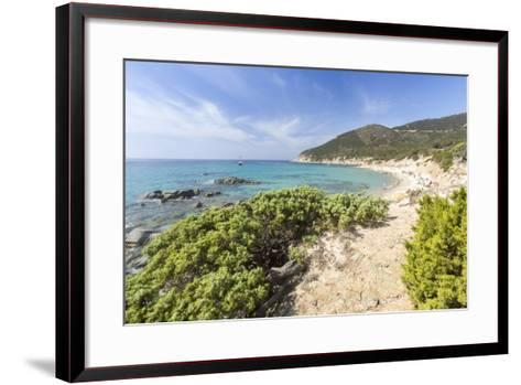 Mediterranean Vegetation Frames the Beach and the Turquoise Sea of Porto Sa Ruxi, Villasimius-Roberto Moiola-Framed Art Print