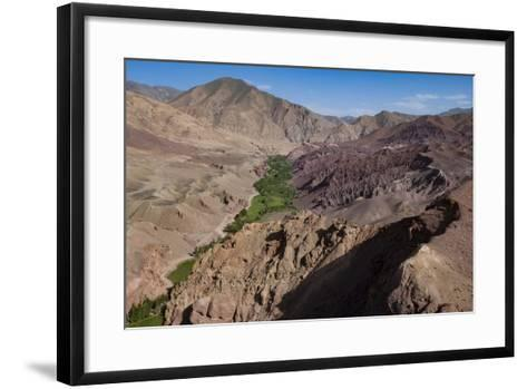 Rugged Landscapes and Green Patchwork Fields Near Shahr-E Zohak, Afghanistan, Asia-Alex Treadway-Framed Art Print