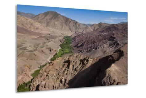 Rugged Landscapes and Green Patchwork Fields Near Shahr-E Zohak, Afghanistan, Asia-Alex Treadway-Metal Print
