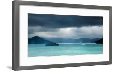 Queen Charlotte Sound with a Ferry Boat Navigating its Way Through to Cook Straits-Garry Ridsdale-Framed Art Print