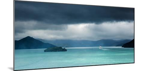 Queen Charlotte Sound with a Ferry Boat Navigating its Way Through to Cook Straits-Garry Ridsdale-Mounted Photographic Print