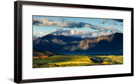 The Plains and Lakes of Otago Region Framed by Cloud Capped Mountains, Otago, South Island-Garry Ridsdale-Framed Art Print