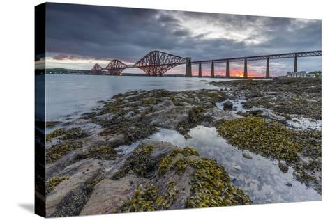 Dawn Breaks over the Forth Rail Bridge, UNESCO World Heritage Site, and the Firth of Forth-Andrew Sproule-Stretched Canvas Print