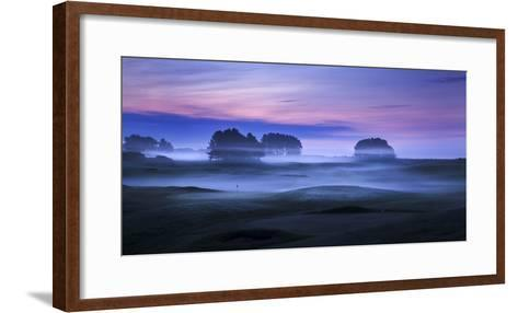 Spring Mist Lies in Cold Undulating Valleys across Greens and Fairways at Delamere Forest Golf Club-Garry Ridsdale-Framed Art Print