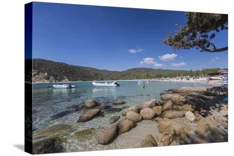 Boats in the Turquoise Sea Surround the Sandy Beach of Cala Pira Castiadas, Cagliari, Sardinia-Roberto Moiola-Stretched Canvas Print