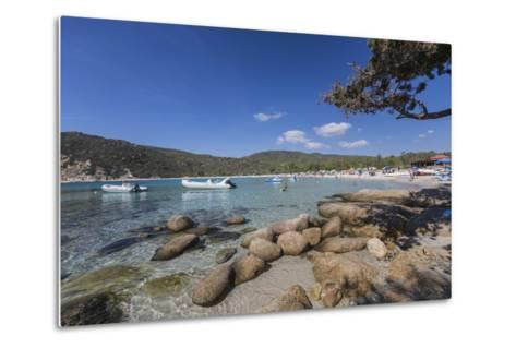 Boats in the Turquoise Sea Surround the Sandy Beach of Cala Pira Castiadas, Cagliari, Sardinia-Roberto Moiola-Metal Print