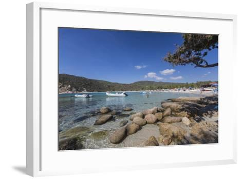 Boats in the Turquoise Sea Surround the Sandy Beach of Cala Pira Castiadas, Cagliari, Sardinia-Roberto Moiola-Framed Art Print
