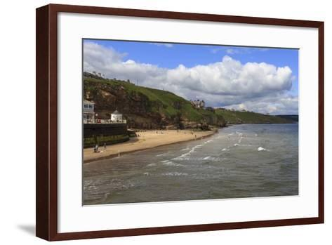 Bathers on West Cliff Beach, Backed by Grassy Cliffs in Summer, Whitby, North Yorkshire, England-Eleanor Scriven-Framed Art Print