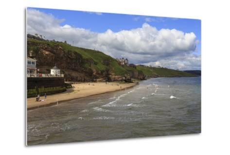 Bathers on West Cliff Beach, Backed by Grassy Cliffs in Summer, Whitby, North Yorkshire, England-Eleanor Scriven-Metal Print