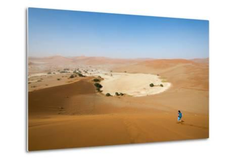 A Woman Runs Down from the Summit of Sossusvlei Sand Dune, Namibia, Africa-Alex Treadway-Metal Print