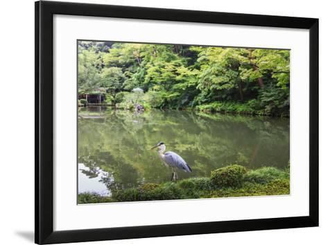 Stork at Hisagoike Pond in Summer, Kenrokuen, One of Japan's Three Most Beautiful Landscape Gardens-Eleanor Scriven-Framed Art Print