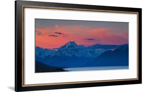 The Last Rays of Setting Sun Strike Peak of Aoraki (Mount Cook) Beyond Shores of Lake Pukaki-Garry Ridsdale-Framed Art Print