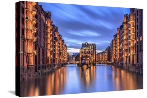 Blue Dusk and Lights are Reflected in Poggenmohlenbrucke with Water Castle Between Bridges-Roberto Moiola-Stretched Canvas Print