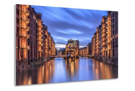 Blue Dusk and Lights are Reflected in Poggenmohlenbrucke with Water Castle Between Bridges-Roberto Moiola-Metal Print