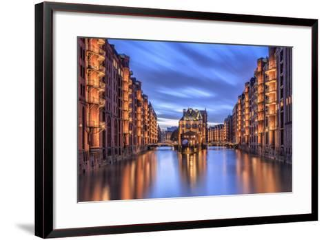 Blue Dusk and Lights are Reflected in Poggenmohlenbrucke with Water Castle Between Bridges-Roberto Moiola-Framed Art Print