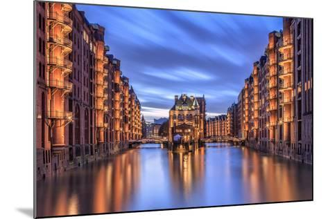 Blue Dusk and Lights are Reflected in Poggenmohlenbrucke with Water Castle Between Bridges-Roberto Moiola-Mounted Photographic Print