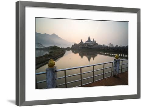 Kyauk Kalap Buddhist Temple in the Middle of a Lake at Sunrise, Hpa An, Kayin State (Karen State)-Matthew Williams-Ellis-Framed Art Print